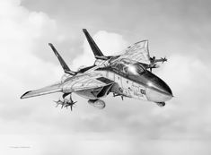 Tomcat by Douglas Castleman Art Drawings Sketches, Pencil Drawings, Airplane Drawing, F14 Tomcat, Amazing Cars, Pencil Art, Landscape Art, Art History, Painting & Drawing