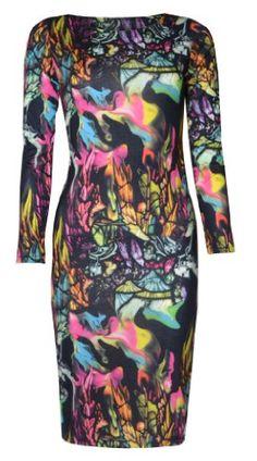 Womens Birds and Feathers Print Long Sleeved Midi Dress (8/10 (uk 12/14), Black/green/hot pink) vip,http://www.amazon.com/dp/B00CTKMK7U/ref=cm_sw_r_pi_dp_bOM5sb1ADXQMQ6QE