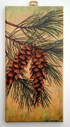 Pine Cone Small Cutting Board Would like to paint this on a canvas. Winter Painting, Winter Art, Painting For Kids, Painting On Wood, Painting & Drawing, Watercolor Paintings, Painting Snow, Watercolor Tips, Painting Flowers