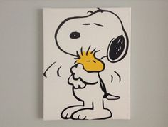 Duct tape painting: Snoopy and Woodstock 100% duct tape on 11x14 stretched canvas, $40 on Etsy