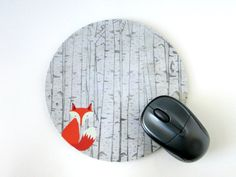 Fox Mouse Pad - Fox Round Mousepad - Rustic Home Office Decor, Accessories, Gifts - Computer Mouse Mat - Nature Lover Gift - Coworker Gift
