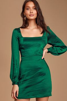 Now that we've found the Lulus Got The Love Emerald Green Satin Square-Neck Mini Dress we're never looking back! Glossy satin mini dress with a square neckline. Satin Mini Dress, Mod Dress, Satin Dresses, Dresses With Sleeves, Green Satin Dress, Mini Dresses, Party Dresses, Women's Dresses, Dresses Online