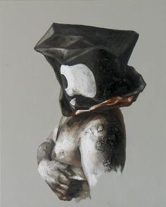 """Xavier Jallais - """"Automorphie au sac Apple"""" (2012) - Wood coal, ash, sand, acrylic & oil on canvas, 65 x 81 (cm) Chef D Oeuvre, Unique Art, Les Oeuvres, Statue, Portrait, Painting, Inspiration, Contemporary, Canvas"""