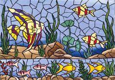 Papel Decoupage A3 Peixes Mosaico - Vadita Decor, produtos de decoração                                                                                                                                                      Mais