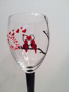 Love Birds Hand Painted personalized wine by LivelyLibations https://www.facebook.com/pages/Lively-Libations-Glass/243800552462322