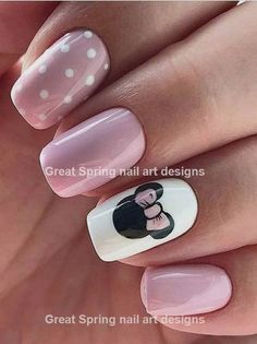 Mickey - Minnie Nails - Decorated Nails Minnie Mouse Hello girls, today the inspiration for the nails are Minnie Mouse, the beloved of Disney's most famous mouse Mickey Mouse. Your nails will be super feminin Chic Nail Art, Pink Nail Art, Chic Nails, Trendy Nails, Pink Nails, My Nails, Pink Art, Nails Today, Matte Nails