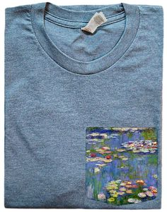 Water Lilies Pockets are sewn onto a combed ringspun cotton t shirt. These shirts are supremely soft and a unisex fit. Women are recommended to wear one size down. Sizes S-XL. Scroll through the photos to view different shirt color options. At checkout, please tell me your shirt size and color preference. Thanks. International orders- If your ordering a shirt from outside the U.S. please tell me your phone number at checkout. Its a requirement to pass through customs during the shipping…