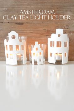 DIY Amsterdam Clay thee light holder Christmas Crafts To Sell Handmade Gifts, Clay Christmas Decorations, Homemade Christmas Gifts, Diy Christmas Ornaments, Diy Clay, Clay Crafts, Clay Candle Holders, Clay Houses, Clay Ornaments