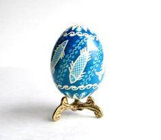 Blue Pysanka Ukrainian Easter egg decorated batik egg (24.00 USD) by UkrainianEasterEggs