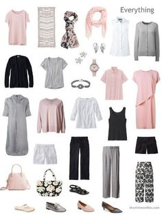 How to Build a Warm Weather Travel Four by Four Wardrobe by Starting with Art: Palimpsest 46 by Kamrooz Aram - The Vivienne Files a Travel Capsule Wardrobe in black, white, grey and pink Pink Wardrobe, Travel Wardrobe, Summer Wardrobe, Capsule Outfits, Fashion Capsule, Work Outfits, The Vivienne, Minimalist Wardrobe, Looks Style