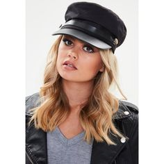 Missguided Button Detail Military Baker Boy Hat (€21) ❤ liked on Polyvore featuring accessories, hats, black, polyester hat, gatsby cap, baker boy, military hats and news boy hats