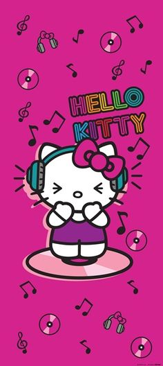 Fotomural Hello Kitty FTV 1531, fotomural de puerta en rosa fucsia, con la Hello Kitty escuchando música.
