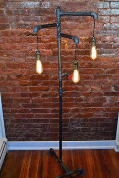 Industrial Steampunk Floor Lamp Bronze Light by WestNinthVintage, $499.00. Make something like this ala the vintage Revivals wood changed lamp?!
