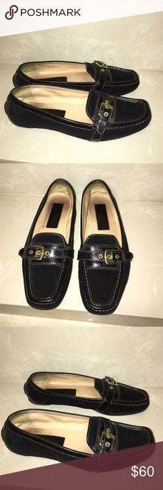 Authentic Coach black suede leather loafers sz 8 Authentic Coach black suede leather flats loafers sz 8 great condition light scuffs/wear Coach Shoes Flats & Loafers