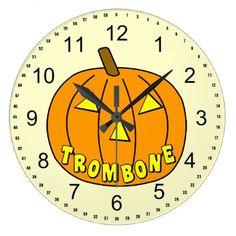 #Trombone Halloween Pumpkin Large Clock - #Halloween #happyhalloween #festival #party #holiday