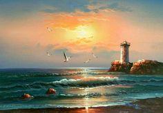 Sea Beach Scenes Art Reproduction Oil Paintings