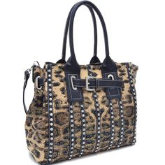 Belted Leopard Print Fashion Tote Bag Striped with Rhinestones - Black
