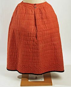 Quilted petticoat, American, 18th C. Made of cotton, silk, and cellulose.