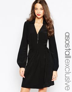 ASOS TALL Exclusive Wrap Dress With Long Sleeve and Tie Waist