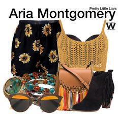 A Coachella Festival Fashion look inspired by Lucy Hale as Aria Montgomery on Pretty Little Liars.