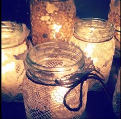 DIY candle holders with baby food jars and lace. Maybe I can dye the lace to match our color scheme!