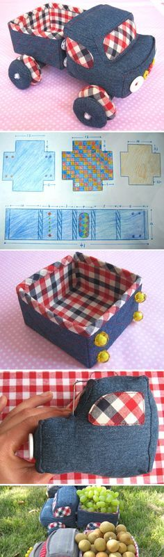 How to sew a fabric Truck. A soft toy for the child or the original basket of fruit. DIY Photo Tutorial http://www.handmadiya.com/2016/03/pickup-truck-basket-of-fabric.html