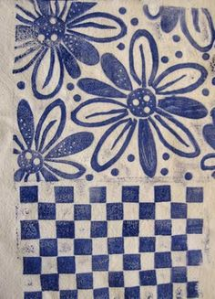 Ro Bruhn - stamped fabric using hand made foam stamps
