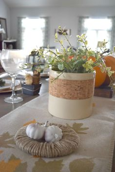 vintage vase 2,fall tablescape with simple and low cost ways to decorate for the holidays. Gold accents, rustic elements with calm and warm neutrals. A dining room ready for fall and thanksgiving. Filled with DIY and fall crafts projects.