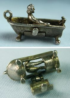 Bathing woman charm with opening bathtub underneath to reveal her bottom ~ From the Estate of Joan Munkacsi