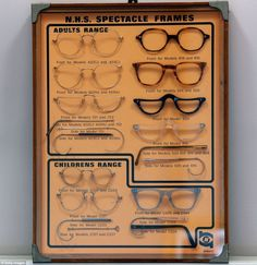 An antique display board of NHS (National Health Service) spectacles made by Savile Row in their glasses factory in Stratford, east London