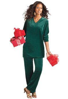 1674676f041cf Roamans Plus Size Petite V-Neck Velour Jogging Suit