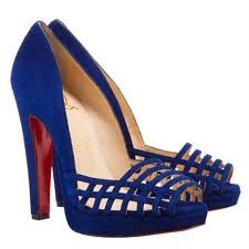 Christian Louboutin CHALUMO Suede Caged Platform Pumps Shoes Indigo