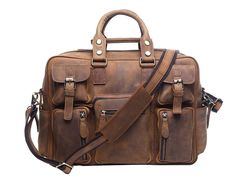 Genda 2Archer Crazy Horse Leather Multi-Pocket Messenger Bag Tote Business Briefcase ** Continue to the product at the image link.