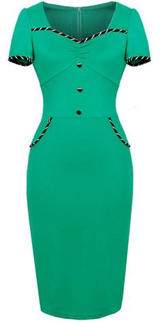 HOMEYEE Women's Vintage Sheath Wiggle Dress * Read more at the image link. (This is an affiliate link and I receive a commission for the sales) African Fashion Dresses, African Dress, Classy Dress, Classy Outfits, Elegant Dresses, Vintage Dresses, Short Dresses, Dresses For Work, Dress Outfits