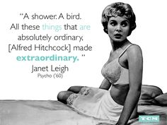 Janet Leigh on working with Alfred Hitchcock. Vintage Movie Stars, Vintage Movies, Turner Classic Movies, Classic Films, Classic Hollywood, Old Hollywood, Janet Leigh Psycho, Alfred Hitchock, Enjoy Quotes