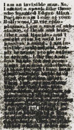 "Untitled (""I am an invisible man""), 1991.  Glenn Ligon (American, born 1960), Oilstick on paper, 30 x 17 1/4"" (76.2 x 43.8 cm). MoMA, Gift of The Bohen Foundation. © 2012 Glenn Ligon"