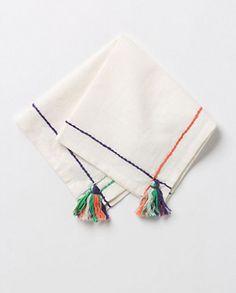 Hand embroidered Naraka napkin- Anthropologie- fringe