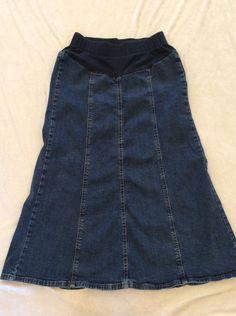 2d6919ba41122 Motherhood Maternity Jean Skirt Small Womens Gored Long Modest No Slit  Trendy #MotherhoodMaternity #ALine