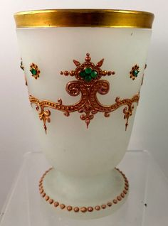 BOHEMIAN OPALINE ENAMELED & JEWELED HISTORICISM ART GLASS GOBLET, 1800s, B