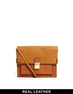 ASOS Leather Vintage Style Lock Cross Body Bag