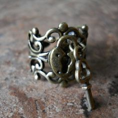 Sweetheart Lock and Key Steampunk Ring in by EnchantedLockets,