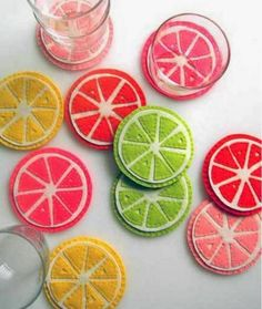 DIY Felt Coasters : DIY Cute Citrus Felt Coaster