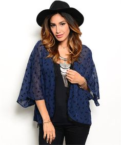 JAZZY NAVY BLUE CARDIGAN –Stylish sheer cardigan, you are sure to make a fashion statement with this cardigan. #fashion #style #womenfashion #cardigan #boutique #shoppingonline #boutique