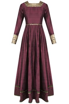 Wine french knot embroidered floor length anarkali available only at Pernia's Pop Up Shop.