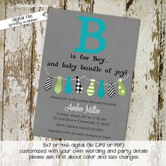 Baby boy shower invitation bunting banner of neckties. Can be used for baptism, retirement, bachelors party, sip and see, birthday, sprinkle. www.katiedidcards.com