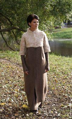 """Купить Валяное пальто """"""""Сосо"""" - коричневый, пальто, авторское пальто, альпака, шерсть, шерсть 100%"""