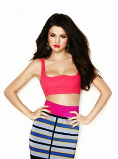 Crop top and colourful stripes skirt- Selena Gomez