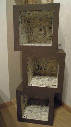 Meuble en carton Hubi réalisé par Evelyne 76, à partir d'un patron de l'Atelier Chez Soi.: #mueblesrecicladoscarton