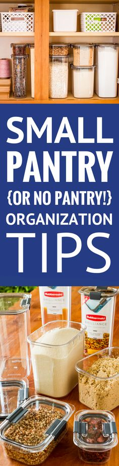 Small Pantry Organization Tips -- Having a small pantry (or worse, no pantry!) is the pits... Trust me, I live with it every day, but I've got some ideas for organizing a small pantry to share that definitely will help make it more manageable! | small pantry diy | small pantry food storage | small pantry ideas | small pantry cabinets | small pantry organizing #pantry #pantryorganization #pantryorganizationideas #organizing