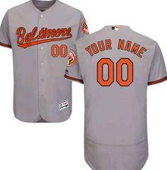 8738802b9 Men Baltimore Orioles Majestic Road Gray Flex Base Authentic Collection  Custom MLB Jersey